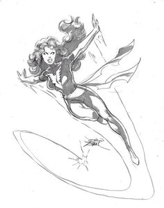 """Dark Phoenix by John Byrne. Obviously before Byrne seemed to adopt a """"let me pencil a panel in 20 strokes or less"""" approach. Drawing Superheroes, Drawing Cartoon Characters, Marvel Drawings, Comic Book Characters, Marvel Characters, Marvel Films, Comic Character, Comic Book Artists, Comic Artist"""