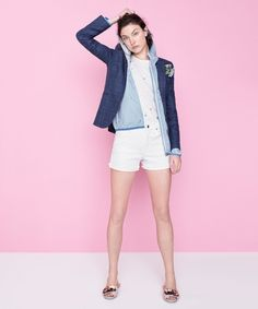 J.Crew women's embellished floral T-shirt, Campbell blazer linen wool plaid, New Balance® for J.Crew windbreaker jacket in stripe, high-rise denim short in white and satin slides with floral embellishment.