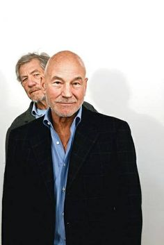 Ian McKellen & Patrick Stewart by Rob Greig - there is just something about these sexy old guys. If Harrison Ford was in this picture I think I would spontaneously combust. Sir Ian Mckellen, Patrick Stewart, Cinema, Foto Art, The Villain, The Avengers, Famous Faces, Along The Way, Actors & Actresses