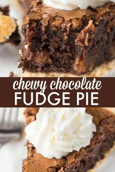 Chewy Chocolate Fudge Pie - The perfect Easter dessert that tastes just like a brownie! The perfect Easter dessert that tastes just like a brownie! Chocolate Chip Cookies, Chocolate Fudge Pie, Chocolate Pie Recipes, Chocolate Desserts, Chocolate Lovers, Chocolate Coconut Pie Recipe, Fudge Brownie Pie, Baking Chocolate, Chocolate Chocolate