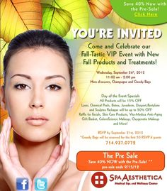Come to our fall event September 26 from 11am-2pm, we will be offering 15% OFF all of our products that day. Plus services can be purchased at a deeply discounted rate.