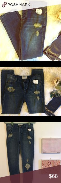 Free People Distressed Jeans NWT Super cute and soft Free People Jeans. Have distressing throughout on the front. Sadly they are too small for me. Free People Jeans Skinny
