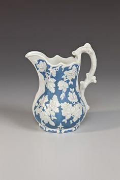 """Charter Oak"" Pitcher United States Pottery Company (Bennington, Vermont, 1849-1858)  Created: 1853-1858  Form: Porcelain (parian)."