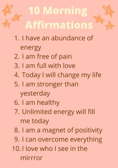Start your day with positivity with these 10 beautiful morning affirmations; Daily Positive Affirmations, Positive Affirmations Quotes, Morning Affirmations, Affirmation Quotes, Positive Words, Positive Thoughts, Positive Quotes, Healthy Affirmations, Abraham Hicks