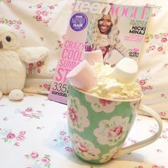 Owl Stuffed Animal, Teen Vogue, and Marshmallow and Whip Cream Hot Chocolate ♡Stay Gold Always ♡