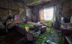 Casa abandonada con recámara cubierta de musgo y tierra