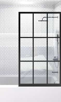 Gridscape Fixed Panel Shower Screen for Bathtubs in Black with Clear Glass – divided STYLE