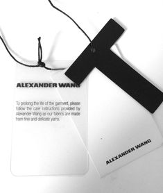 Risultati immagini per clothing labels alexander wang Label Design, Branding Design, Hangtag Design, Price Tag Design, Alexander Wang, Garments Business, Aesthetic Shirts, Cool Packaging, Swing Tags
