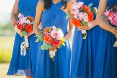 This bright color palette just screams summer! Are you planning a bright colored wedding? Photography: @cliftonmariephotography Bulk Wedding Flowers, Red Rose Wedding, Rose Wedding Bouquet, Wedding Stuff, Bridesmaid Flowers, Burgundy Flowers, Peach Flowers, Scabiosa Flowers