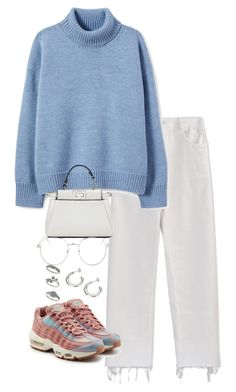 A fashion look from October 2017 featuring blue sweater, high waisted white pants and pink shoes. Browse and shop related looks. Uni Outfits, Winter Fashion Outfits, Korean Outfits, Look Fashion, Trendy Outfits, Korean Fashion, Fall Outfits, Look Oxford, Mode Chanel