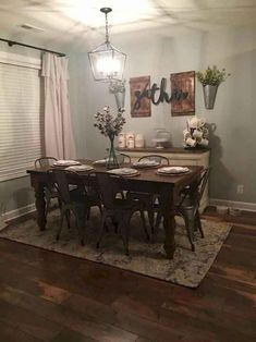 Ideas Farmhouse Dining Room Decor Ideas Home Dining Room Wall Decor, Dining Room Design, Dinning Room Ideas, Dining Room Curtains, Rustic Kitchen Wall Decor, Dining Room Decorating, Dining Room Lighting Rustic, Rustic Livingroom Ideas, Rustic Dining Rooms