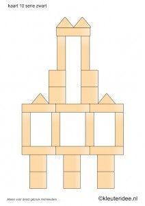 Bouwkaarten voor de blokkenhoek, kleuteridee.nl , serie zwart kaart 10, building cards for the block area, free printable