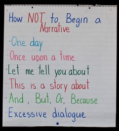 I will create an anchor chart similar to this one when teaching narrative writing. Sometimes seeing something done incorrectly is even more helpful than seeing it done correctly. 7th Grade Writing, Teaching Narrative Writing, Personal Narrative Writing, Memoir Writing, Writing Lessons, Writing Skills, Personal Narratives, Dialogue Writing, Paragraph Writing