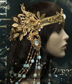 Headpiece Jewelry, Hair Jewelry, Vampire Fashion, Art Nouveau Jewelry, Tiaras And Crowns, Hair Ornaments, Dark Beauty, White Opal, Headband Hairstyles