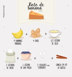 Receita de Bolo de Banana com Aveia sem Glúten e sem Leite. Healthy Desserts, Raw Food Recipes, Healthy Cooking, Healthy Recipes, Menu Dieta, Banana Bread Recipes, Lactose Free, Low Carb Diet, Yummy Cakes