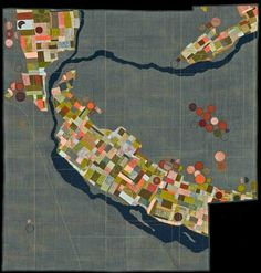 Green Satellite map art quilt by Leah Evans