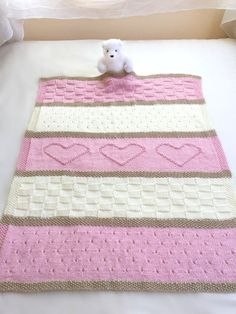 Knit Baby Blanket Pattern, Heart Baby Blanket Pattern, Easy Knitting Pattern by Deborah O& Baby blanket knitting pattern. This adorable baby blanket pattern is easy to knit with simple, basic stitches. Easy Knitting Patterns, Baby Patterns, Knitting Projects, Crochet Patterns, Blanket Patterns, Easy Knit Baby Blanket, Knitted Baby Blankets, Crib Blanket, Kids Blankets