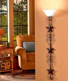 COUNTRY STAR WALL LAMP PRIMITIVE LIVING ROOM RUSTIC KITCHEN BEDROOM HOME DECOR