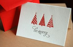 BE MERRY, holiday cards modern trees (letterpress printed) - Set of 10. $27.00, via Etsy.