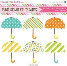 50% OFF SALE Umbrella Clipart Graphics Digital Rainy Day Umbrella Clip Art Blue Orange Yellow Green INSTANT Download on Etsy, $2.50