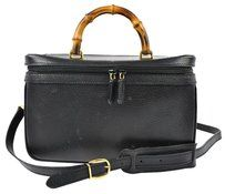 Gucci GUCCI BAMBOO COSMETICS HAND BAG SHOULDER STRAP BLACK LEATHER ITALY