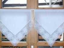 Landhaus Gardine vintage weiß rosa shabby chic 317