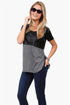 Leather It Tee in Grey