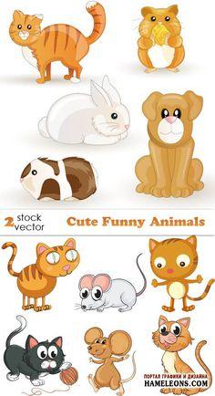 Забавные животные - мышки, кошки, хомяки, собака, кролик в векторе | Funny Animals vector