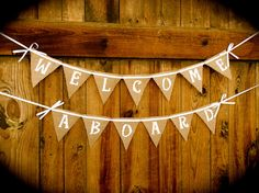 Nautical Baby Shower Welcome Aboard Banner by RusticDaisyDesigns, $24.50