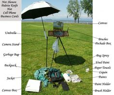 Plein Air Setup from Doug Hoppe. This artist breaks down his setup as a diagram with descriptions of each item below the image on his site.