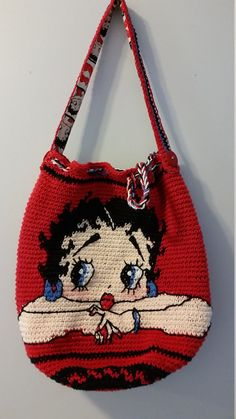 Items similar to betty boop crocheted Mochila style bogo shoulder bag on Etsy Tapestry Bag, Tapestry Crochet, Crochet Handbags, Crochet Purses, Betty Boop Purses, Mochila Crochet, Bag Pattern Free, Pattern Ideas, Tote Pattern