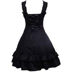 Partiss Womens Multi Layers Sleeveless Black Gothic Lolita Dress With... (2,335 PHP) ❤ liked on Polyvore featuring dresses, black gothic lolita dress, goth dress, gothic dress, double layer dress and sleeveless dress