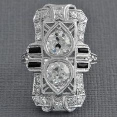Impressive Art Deco Twin Diamond Dinner Ring