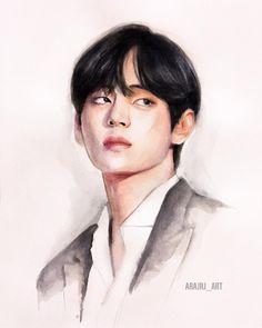 First Love Bts, Fanart Kpop, Bts Art, Taehyung Fanart, Bts Aesthetic Pictures, Kpop Drawings, Art Inspiration Drawing, Gouache Painting, Anime Chibi