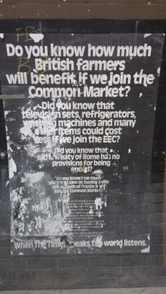 Old Tube advert about the Common Market, now the EU.