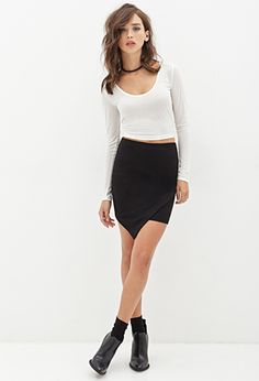 Asymmetrical Pencil Skirt | FOREVER21 - 2000137143 looks uncomfortable but cute