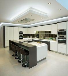 30 Stunning Kitchen Ceiling Ideas 2020 (For Stylish Kitchen) - Dovenda - Modern Kitchen Kitchen Room Design, Luxury Kitchen Design, Best Kitchen Designs, Luxury Kitchens, Bathroom Interior Design, Home Decor Kitchen, Kitchen Living, Modern Interior Design, Kitchen Interior