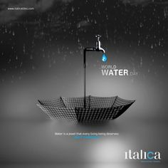 Water is a jewel that every living being deserves; use it carefully World Water Day. Food Graphic Design, Food Poster Design, Creative Poster Design, Ads Creative, Creative Pictures, Creative Posters, Creative Advertising, Advertising Design, Graphic Design Inspiration