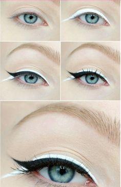 #black #white #fishtail #wing #eyeliner