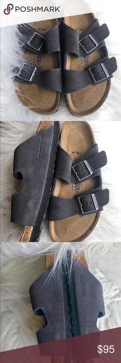 BNWT Birkenstock Grey Suede Soft Footbed Originally $135 Brand new with tags and box. Box might not be in perfect shape due to handling.  All items are inspected throughly and filmed before shipment.  Size 36 Narrow width, Real suede/leather, no birko flor. Soft footbed. Grey velvet suede.  No returns so please know your size in Birks before ordering. I can only guarantee I will be sending the European size stated on the listing. Sorry, No free shipping unless otherwise stated. Price is Firm…