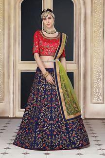 Show details for Classic red & blue designer lehenga choli