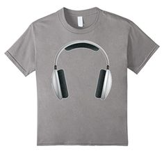 Kids Headphones Music T shirt for men women boys girls tees kids 6 Slate - Brought to you by Avarsha.com