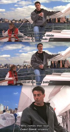 Rachel teaches Joey how to sail.