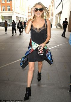 Los Angeles girl: Injecting a touch of Hollywood glamour to her London look, Stephanie accessorised with a black quilted Chanel handbag and a pair of oversized sunglasses