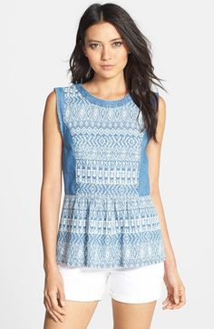 Ella Moss 'Paz' Print Chambray Peplum Top available at #Nordstrom