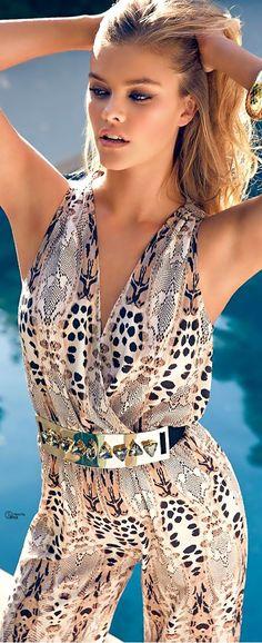 595f2a28aea Bebe SS 2014 Snake Print Jumpsuit Unique Style Inspiration Womens Apparel   UNIQUE WOMENS FASHION Animal Print Fashion