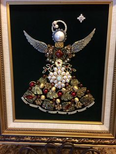 8x10  mixed vintage and new jewelry angel by B. Turchi 2015