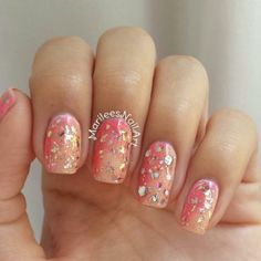 Glitter ombre nails hand-painted nails by @marileesnailart!