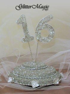 Silver Glitter Stand - Sweet 16 - Cakepop / Lollipop Stand - Centerpiece - Display Stand - Candy Buffet