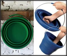 Collapsible Bucket..good for horse people I need this for easy storage and I can carry it around at shows.